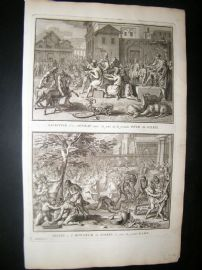 Picart C1730 Folio Antique Print. Feast & Sacrifice, Peru